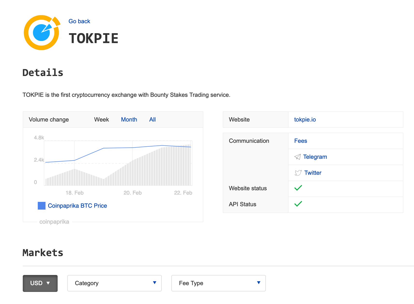 TOKPIE on Coinpaprika