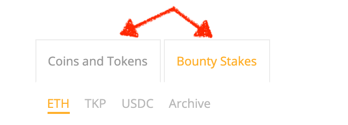 bounty stakes and tokens