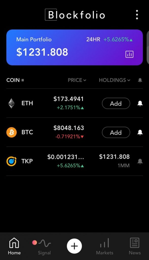 TKP available on blockfolio