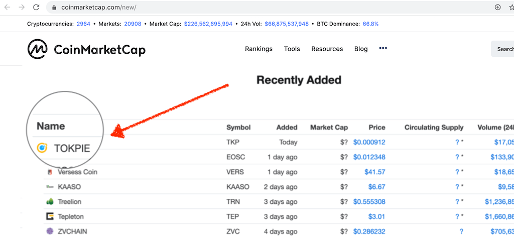 TOKPIE (TKP) Listed on CoinMarketCap (CMC)