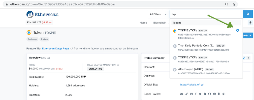 TKP Blue Checkmark on Etherscan
