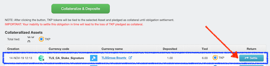 how to settle TLS bounty stakes