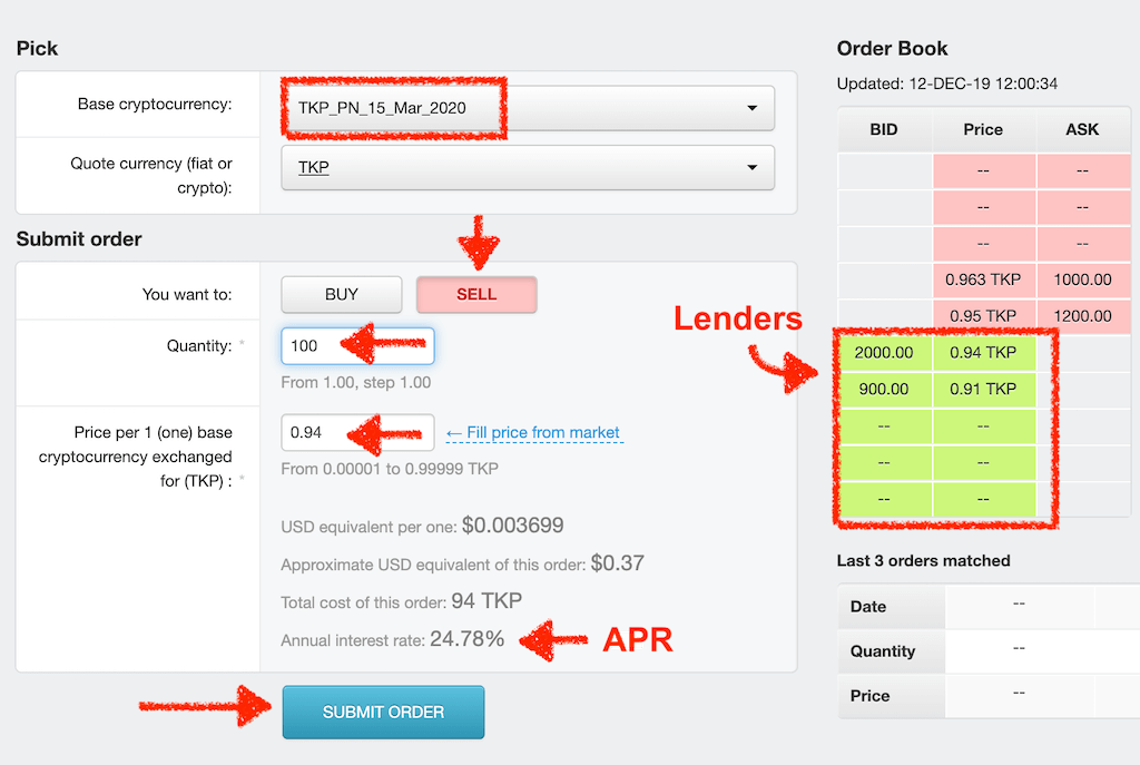 Borrowing TKP token by selling TKP Promissory note in Order Book on Tokpie exchange