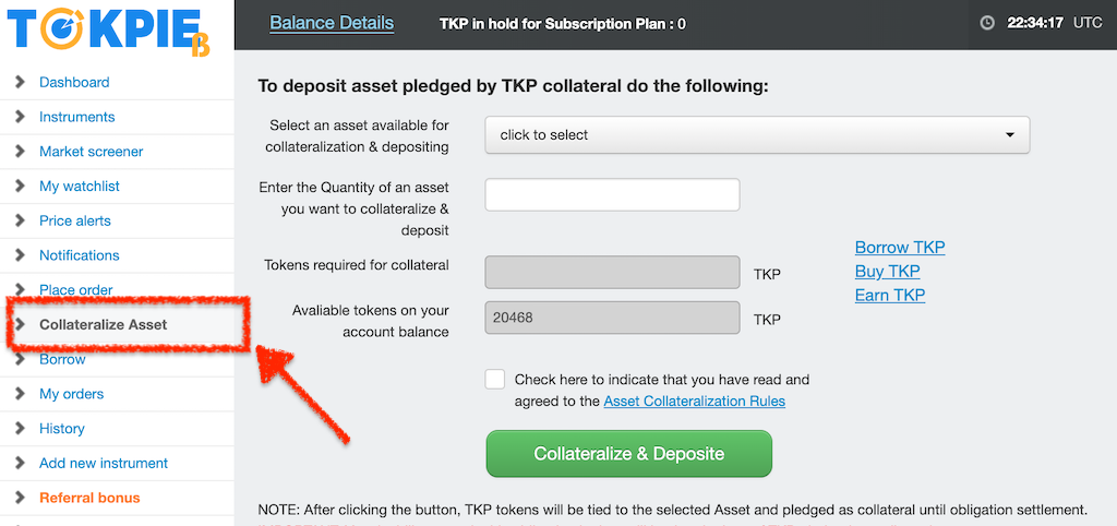 Tokpie exchange platform toolbar with a highlighted Collateralize Asset section