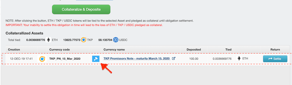 To lend TKP, click on hammer icon to open Promissory note order book and sell them