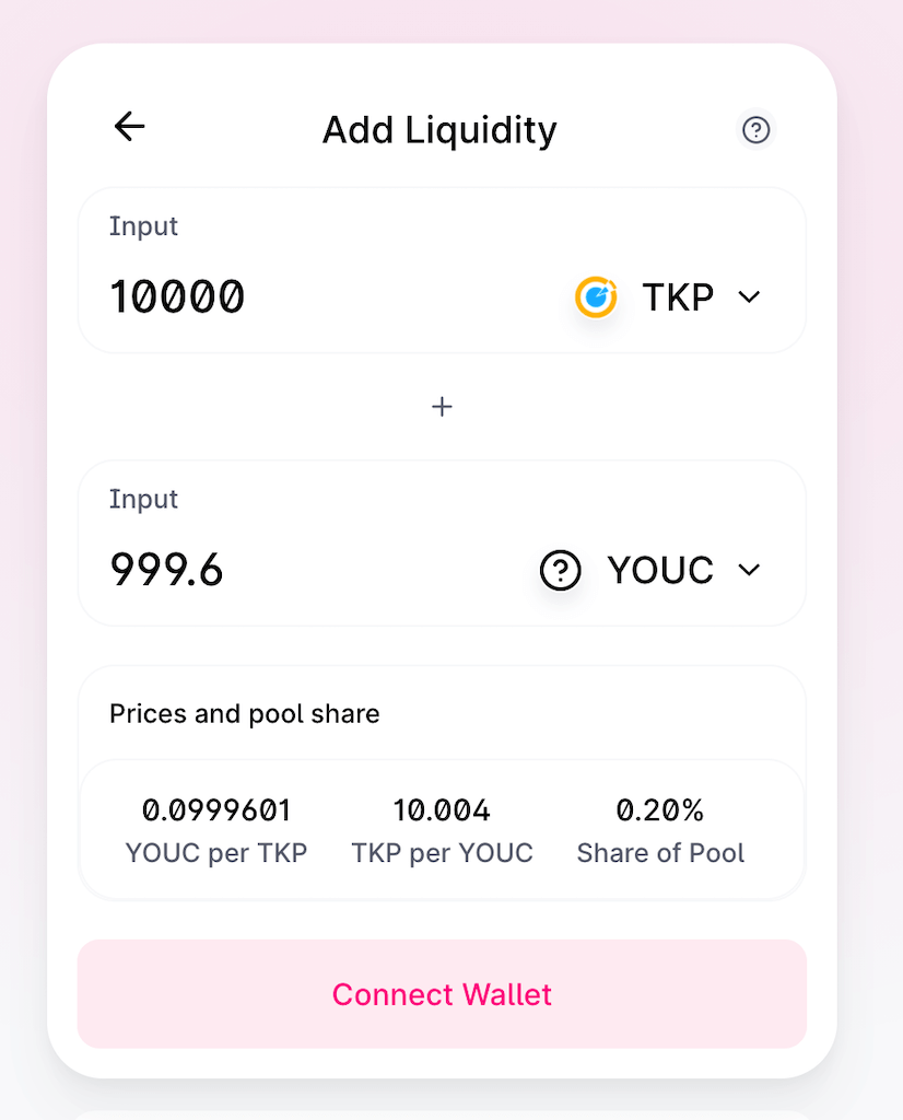 Add Liquidity TKP and YOUC