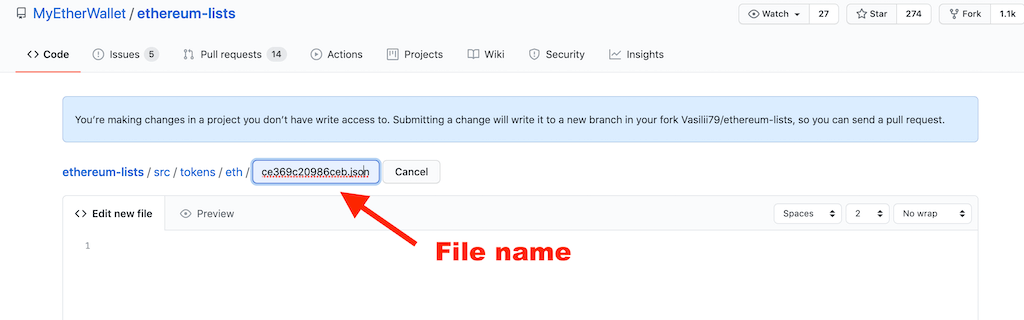 file name on Github