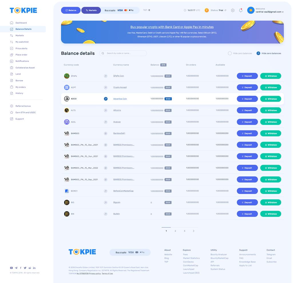 New balance page on Tokpie