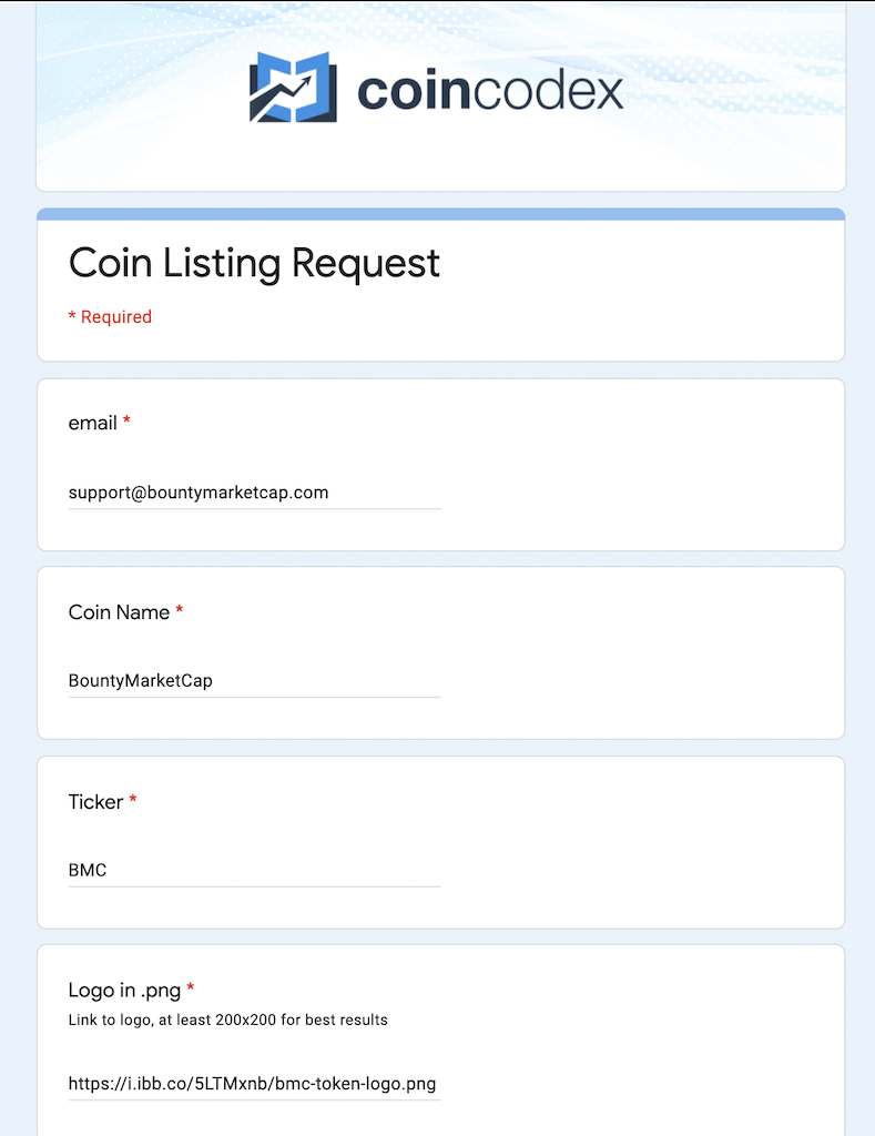 Step 1: Filling Coincodex form