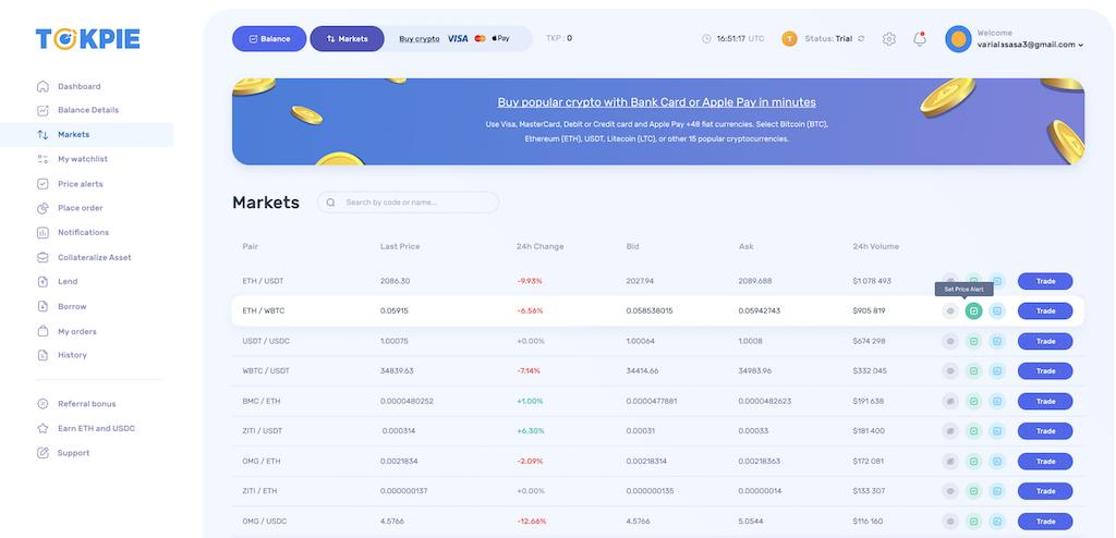New market page on Tokpie