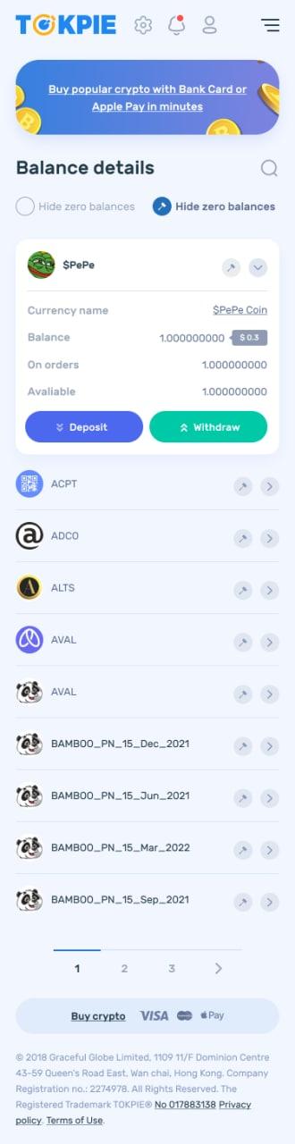 Mobile balance page on Tokpie