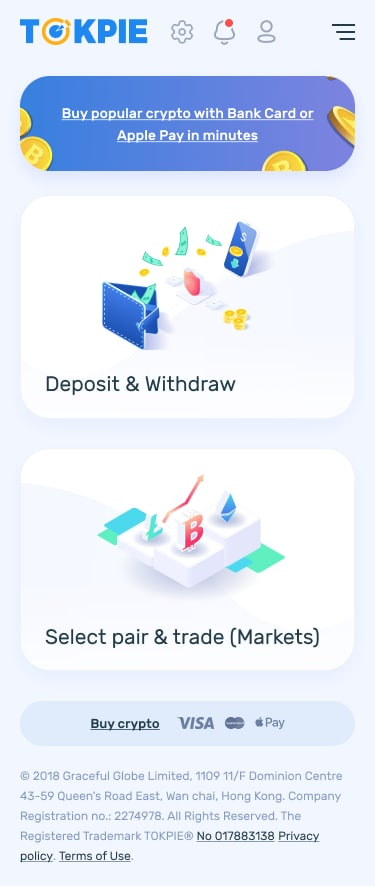 New mobile main page on Tokpie